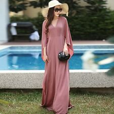 Womens vintage plus size long Chiffon Flare 2/3 Sleeve Maxi dress winter/Autumn