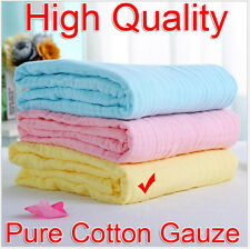 Baby Soft Yellow 95x95cm 100% Pure Cotton Gauze Bath Towel Breathable Absorbent