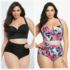 High Waist Swimsuit Women Plus Size Swimwear Print Flower Beach Bikini Set