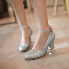 New Womens Ankle Straps buckle Mid Block Heels Pumps Glitter Wedding bride Shoes