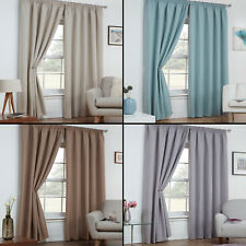 Textured Woven Linen Look  Thermal Blackout Curtain Panels with Tape Top