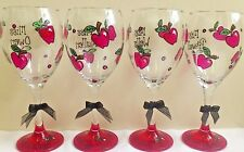 Teacher wine glass gift FREE personalisation hand painted by Luci Lu Designs
