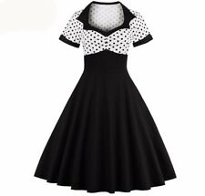 New Fashion Women Summer Rockabilly Black Color Polka Dot Casual Vintage Dress