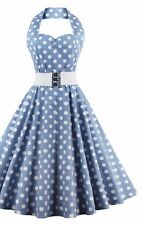 Polka Dot Vintage Off the Shoulder Sleeveless Halter Party Summer Stunning Dress