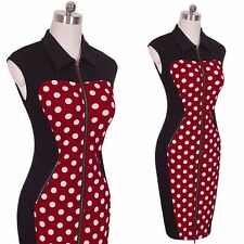 Vintage Polka Dot Printed Summer Sleeveless Front Zipper Dress For Women