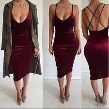 Women Deep V Neck Spaghetti Strap Backless Slim Knee Length Velvet Dress