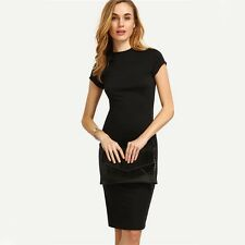 Women Black Color Cap Sleeve Crew Neck Knee Length Mini Dress