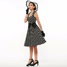Fashion Polka Dot Summer Wear Retro Bow Vintage Dress For Women AS1397