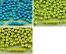100pcs Metalust Metallic Czech Glass Round Faceted Fire Polished Beads Small Spa
