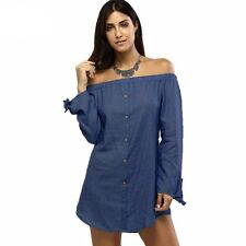 Autumn And Winter Fashion Slash Neck Off The Shoulder Button Shirt For Women