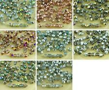 100pcs Crystal Metallic Czech Glass Round Faceted Fire Polished Beads Small Spac