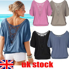 UK Womens Summer Loose T Shirt Short Sleeve Blouse Ladies Casual Tops Plus Size
