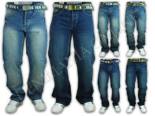 MENS JEANS DENIM DESIGNER BELTED TROUSERS SEVEN SERIES FADED BOTTOMS CASUAL NEW