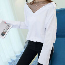 Spring Women Loose Batwing Sleeve Striped False Two Pieces Shirt Tops Blouse New