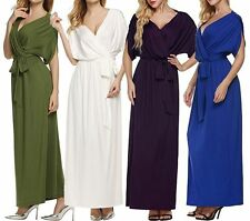 Plus Womens Long Sexy Short Sleeve V-neck Flowy Evening Bridesmaid Maxi Dress