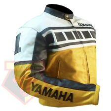 YAMAHA 6728 YELLOW MOTORBIKE MOTORCYCLE BIKER COWHIDE LEATHER ARMOURED JACKET