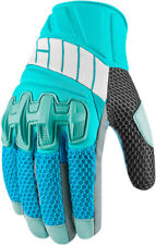 Icon Womens Blue/Grey Leather/Textile Mesh Overlord Motorcycle Gloves
