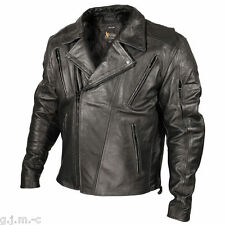 Xelement 1057 Mens Blackout Armored Black Leather Motorcycle Jacket
