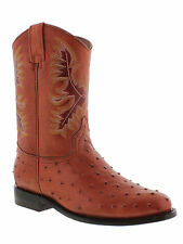 mens ostrich cognac brown crocodile western leather cowboy rodeo boots roper