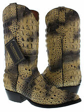 mens natural full alligator horn back exotic print western cowboy rodeo boots