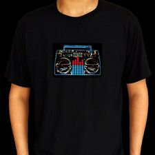 Sound Activated Flashing Light Up Down Stereo Equalizer Unisex LED T Shirt