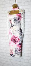 ~VALENTINA~ White Floral Lace Bodycon Evening Midi Pencil Party Dress 8 10 12 14