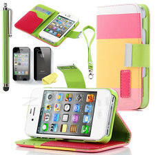 PU Leather Wallet Flip Case Stand Cover w/ Credit Card Holder for iPhone 4 4S