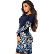 Women Long Sleeves Round Neck Patchwork Printed Pencil Dress St0853