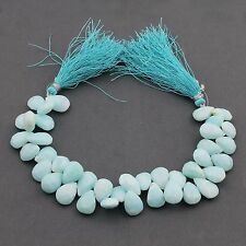 """1 Strand Blue Opal Faceted Pear Drop Beads Briolettes 15x10mm-12x10mm 8"""" PB110"""