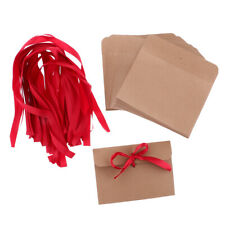 50Pieces Kraft Paper Envelopes for Wedding Party Invites Greeting Cards w/Ribbon