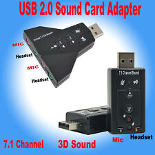 External USB Audio Sound Card Adapter 3D Virtual 7.1 Channel PC Laptop WIN7 8 10
