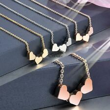 Fashion Women Three Heart Charms Pendant Necklace Jewelry Gift KECP01
