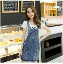 Women Casual Spring Summer Denim Sleeveless Knee-length Dress With Pocket