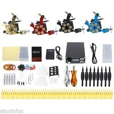 Solong Complete Colorful Tattoo Kit 4 Machine Gun Shader Liner Needle Tip