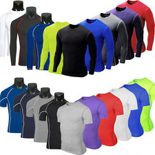 Mens Compression Body Base Thermal Armour Skin Base Layer Tight T-Shirt