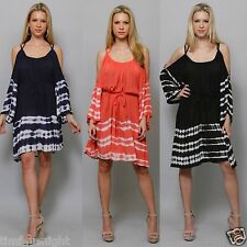 Boho Tie Dye Cold Shoulder Bell Sleeve Tunic Dress or Top Navy Black Coral S-1X!