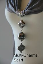 Scarf, Pendant, Necklace Charm Scarf, Jewelry Scarf, Long Scarf