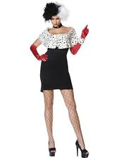 Adult Sexy Cruella Evil Madam Ladies Halloween Fancy Dress Costume Party Outfit