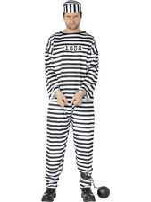 SALE! Adult Prison Jailbird Convict Mens Fancy Dress Stag Party Costume Outfit