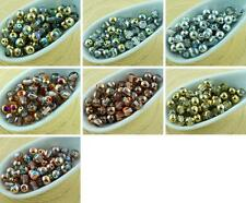 100pcs Crystal Metallic Half Round Pressed Czech Glass Beads Small Spacer 4mm