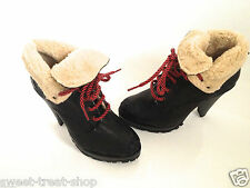 TOPSHOP BLACK FUR LINED REAL LEATHER DISTRESSED EFFECT LACE UP ANKLE BOOTS NEW