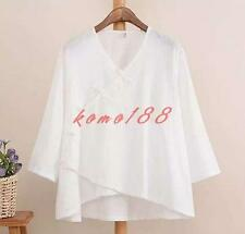 Summer Womens Chinese Tops Blouse Linen Cotton breath loose V Neck Casual shirts