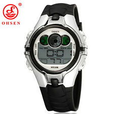 New OHSEN 0739 LED Digital Alarm Waterproof Children Students Sport Watch