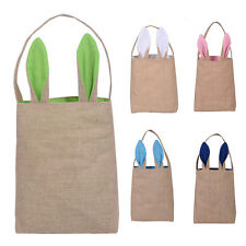 Hot Easter Bag Rabbit Bunny Ear Tote kids Jute Cloth Gift Bag Party For Kids
