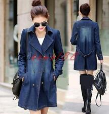 Womens mid Long Jeans Jacket Denim Outerwear slim fit Lapel Double-Breasted Coat