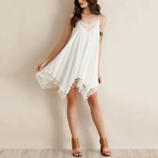Womens Plunge V-neck Angel Wings backless Skater Chiffon Party gallus Mini Dress