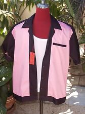 Men's  Rockabilly Vintage 1950's Style Black with Pink Bowling Shirt
