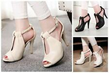 Womens Fashion peep Toe Sandals High Heels Pumps Ankle Strap buckle Shoes size