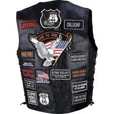 Mens Black Leather Motorcycle Biker Vest 42 patches live to ride