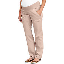 Oh! Mamma Maternity Demi-Panel Classic Stretch Beige Bootcut Career Pants 12-14